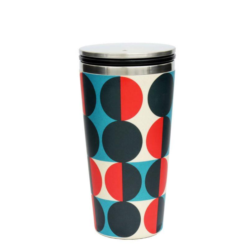 Kaffeebecher aus Edelstahl/Bambus mit Slidecup 'Modernist Circles' (420ml), Deckel geschlossen