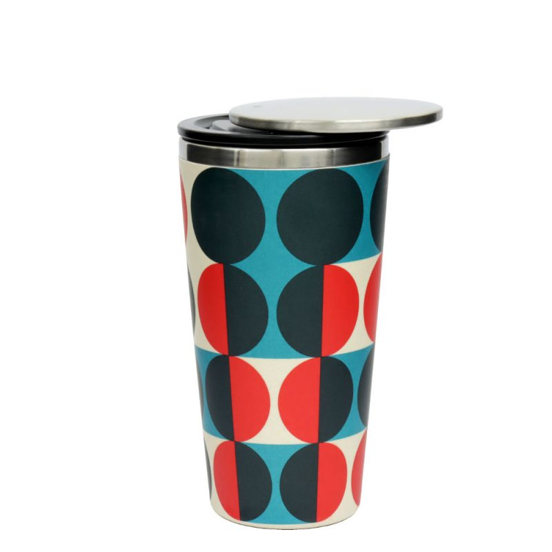 Kaffeebecher aus Edelstahl/Bambus mit Slidecup 'Modernist Circles' (420ml), Deckel offen
