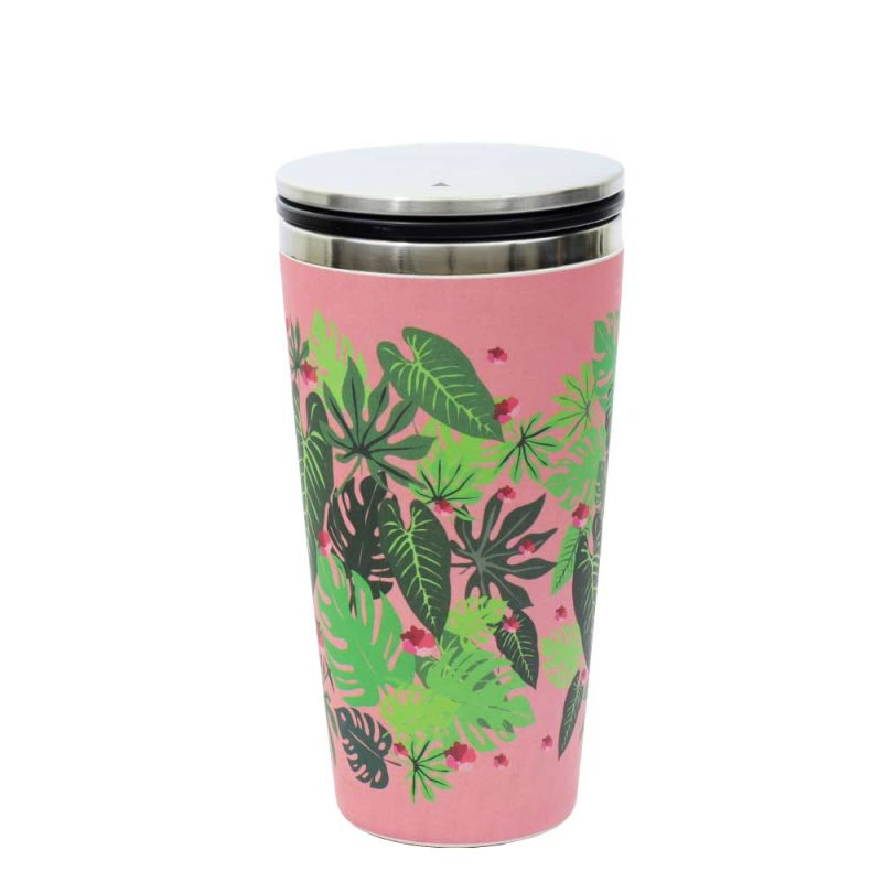 Kaffeebecher aus Edelstahl/Bambus mit Slidecup 'Pink Jungle' (420ml), Deckel geschlossen