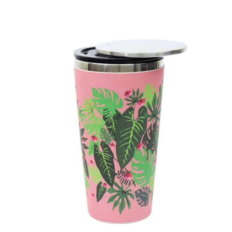 Kaffeebecher aus Edelstahl/Bambus mit Slidecup 'Pink Jungle' (420ml), Deckel offen