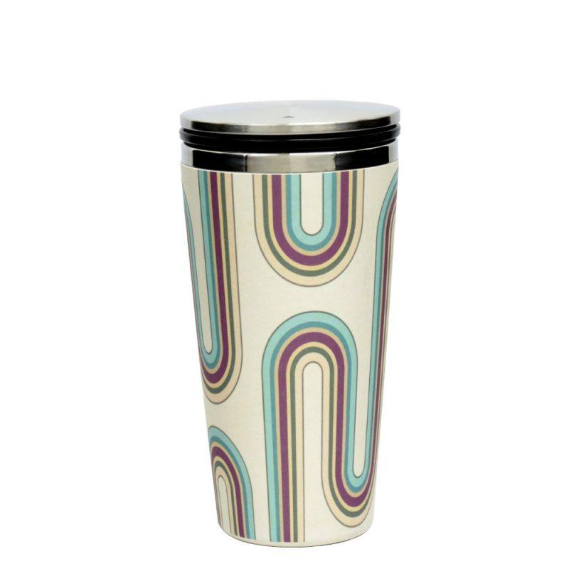 Kaffeebecher aus Edelstahl/Bambus mit Slidecup 'Retro Design' (420ml), Deckel geschlossen