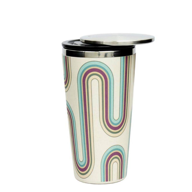 Kaffeebecher aus Edelstahl/Bambus mit Slidecup 'Retro Design' (420ml), Deckel offen