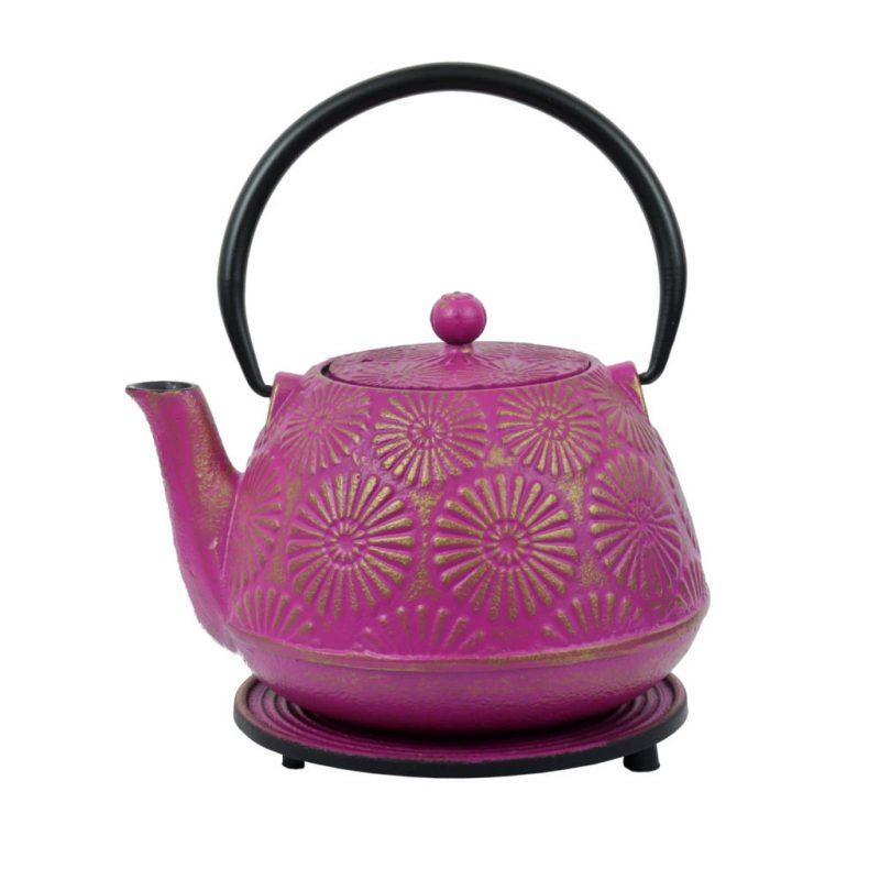 Teekanne aus Gusseisen Hani 1200ml rosa