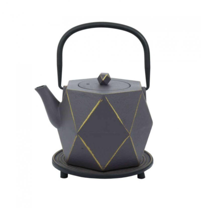 Teekanne aus Gusseisen Karo 800ml grau-gold
