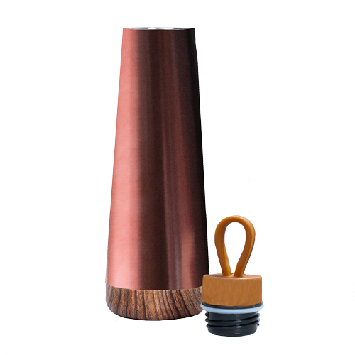 Bioloco-Loop Isolierflasche aus Edelstahl metallic braun Look