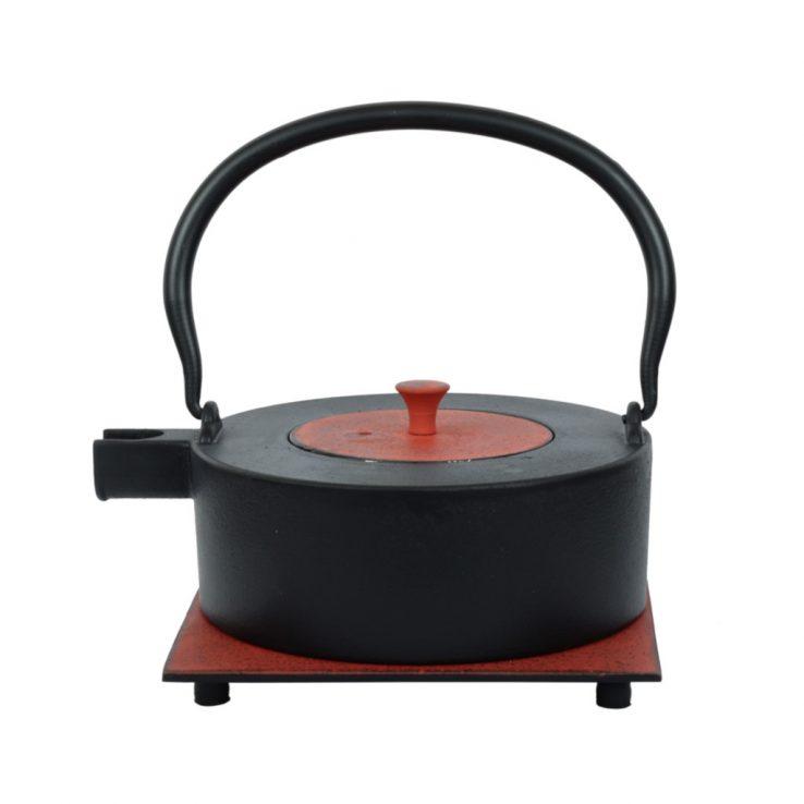 Teekanne aus Gusseisen Heii Na 800ml schwarz-rot