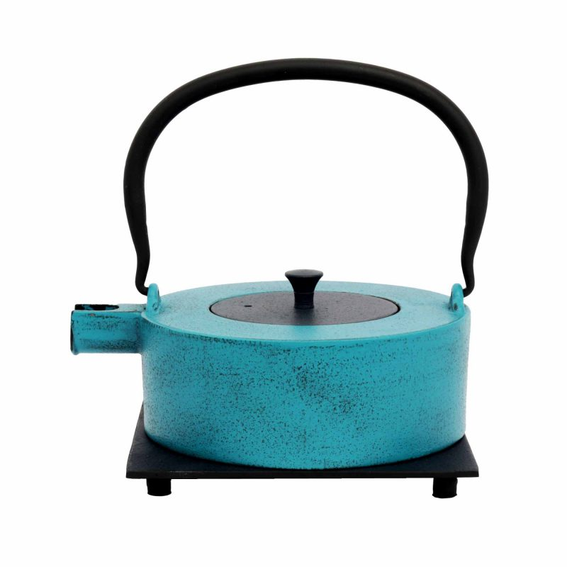 Teekanne aus Gusseisen 'HeiiNa' in Hellblau/Blau, 800ml
