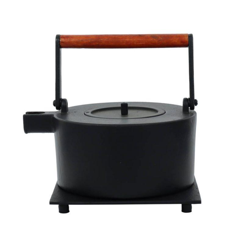 Teekanne aus Gusseisen Maki 1000ml schwarz mit rotem Henkel