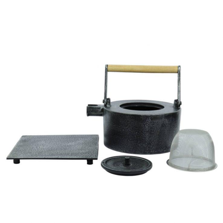 Teekanne aus Gusseisen Maki 1000ml silberschwarz - Set