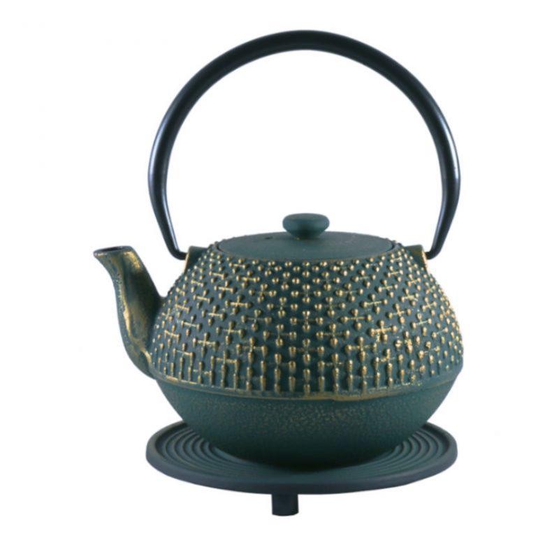 Teekanne aus Gusseisen Hoshi 1100ml grün-gold