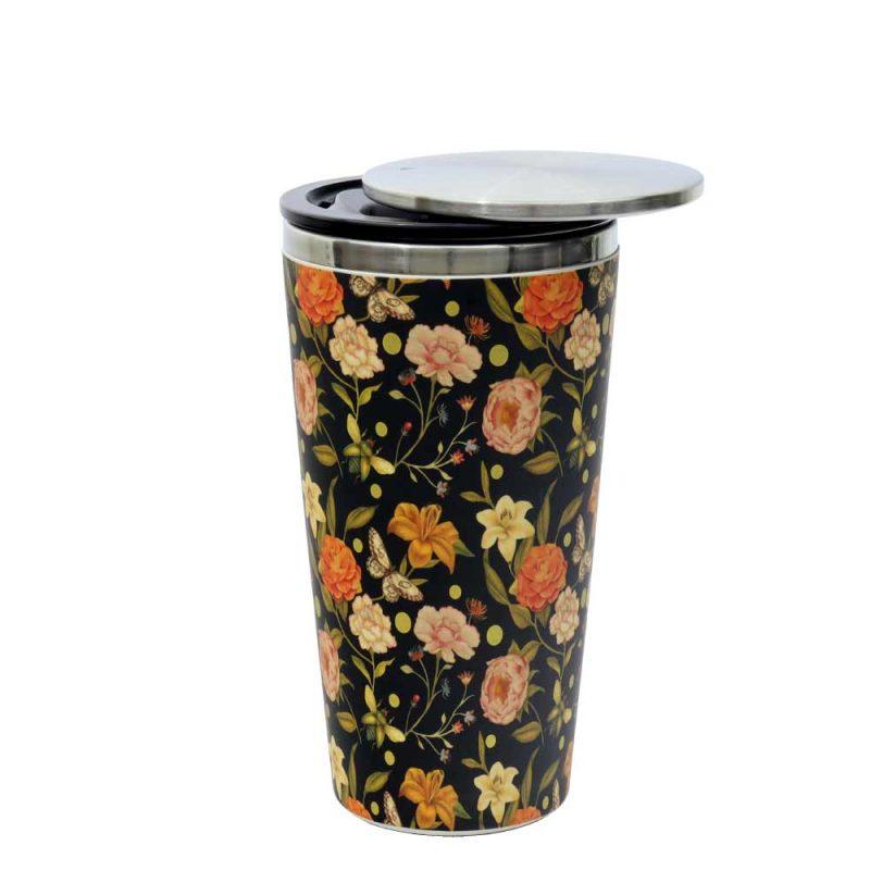 Kaffeebecher aus Edelstahl/Bambus mit Slidecup 'Golden Field' (420ml), Deckel offen