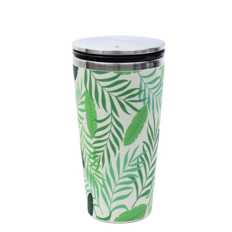 Kaffeebecher aus Edelstahl/Bambus mit Slidecup 'Jungle Leaves' (420ml), Deckel geschlossen