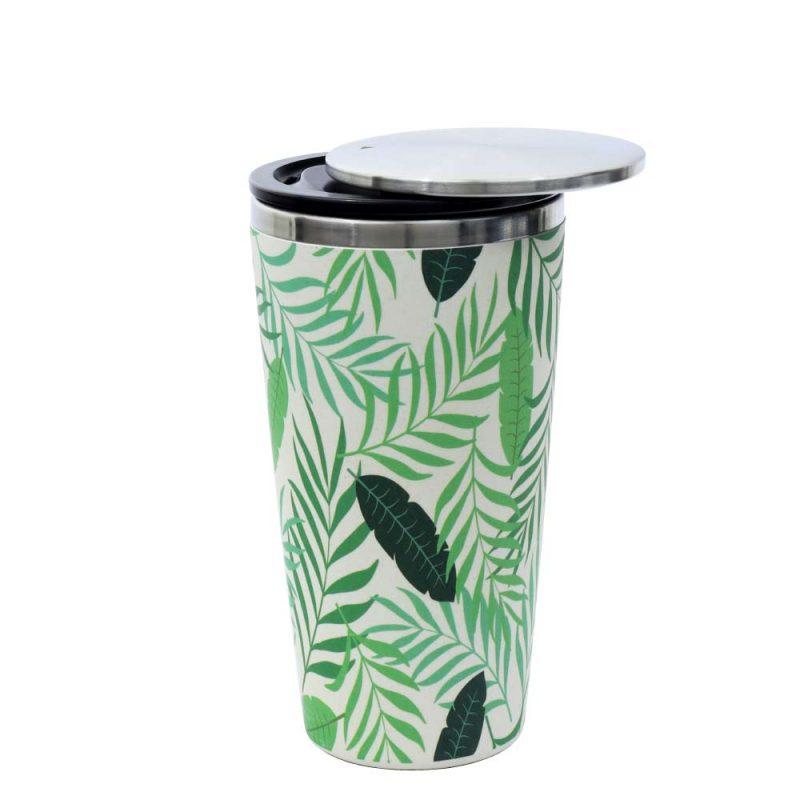Kaffeebecher aus Edelstahl/Bambus mit Slidecup 'Jungle Leaves' (420ml), Deckel offen