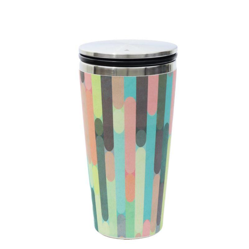 Kaffeebecher aus Edelstahl/Bambus mit Slidecup 'Modern Hues' (420ml), Deckel geschlossen
