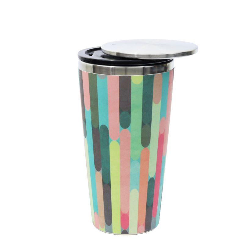 Kaffeebecher aus Edelstahl/Bambus mit Slidecup 'Modern Hues' (420ml), Deckel offen