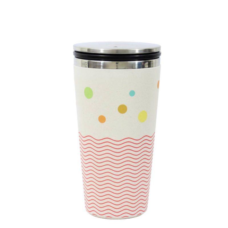 Kaffeebecher aus Edelstahl/Bambus mit Slidecup 'Dots and Waves' (420ml), Deckel geschlossen