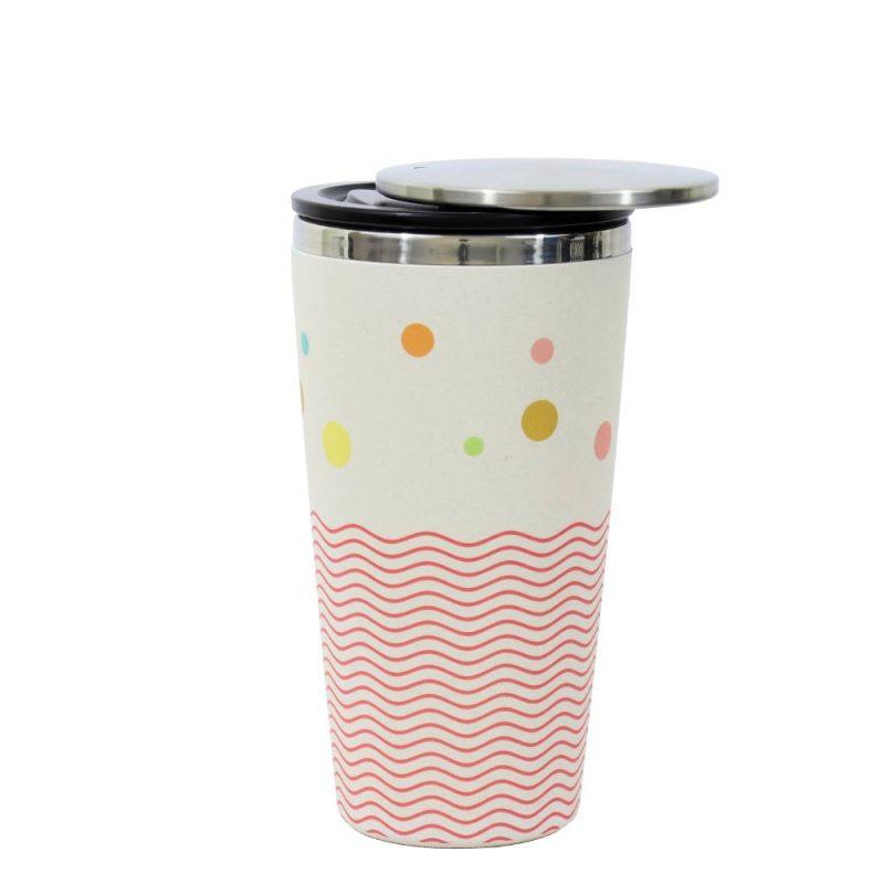 Kaffeebecher aus Edelstahl/Bambus mit Slidecup 'Dots and Waves' (420ml), Deckel offen