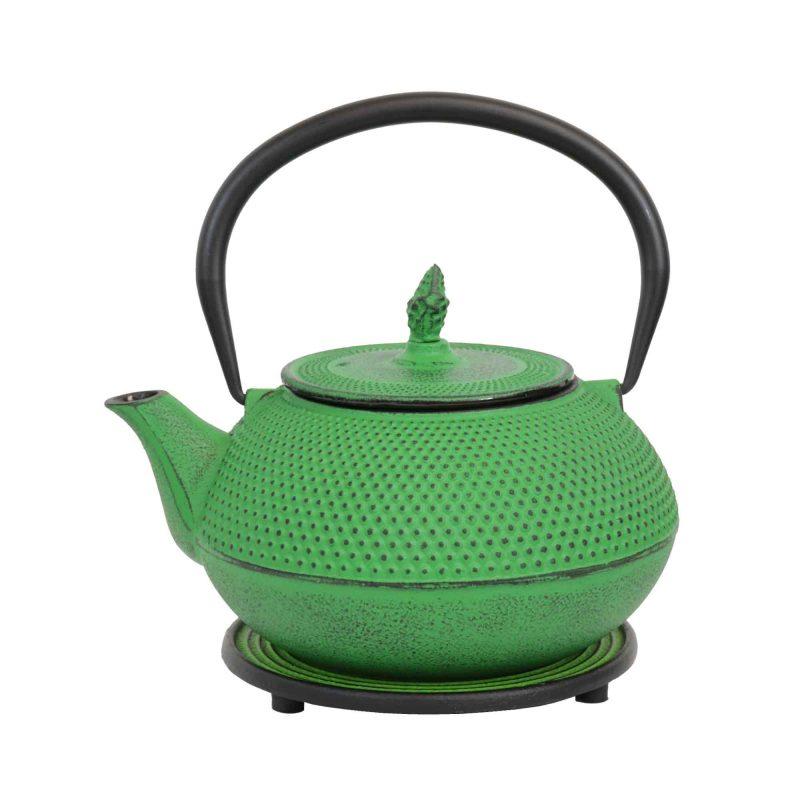 Teekanne aus Gusseisen 'Arare' in Grün, 1200ml