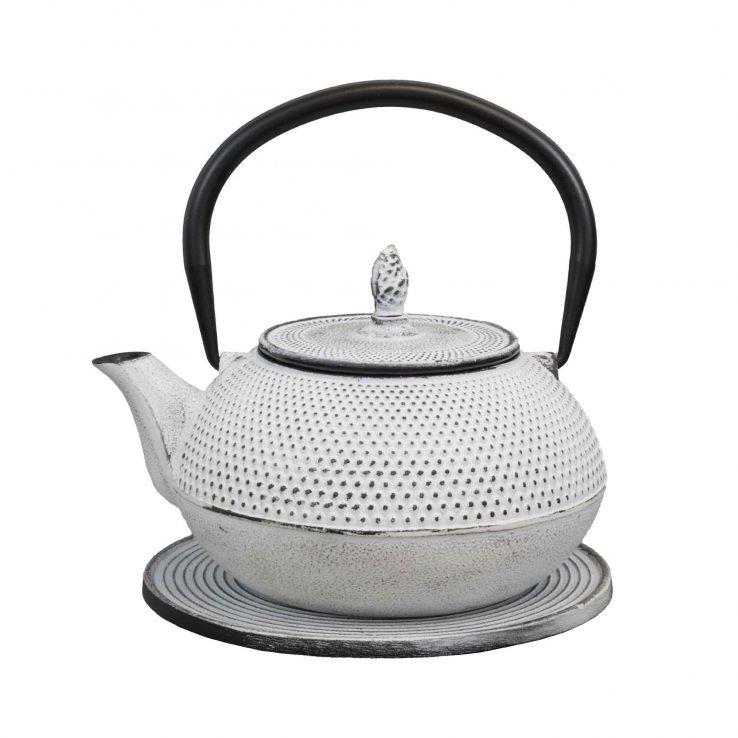 Teekanne aus Gusseisen 'Arare' in Weiß, 1200ml