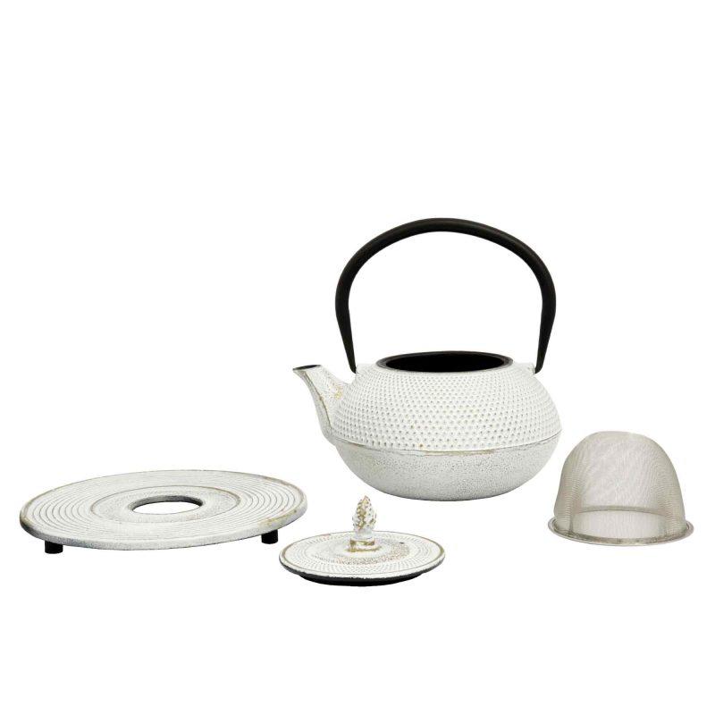 Teekanne aus Gusseisen 'Arare' in Weiß - Lieferumfang