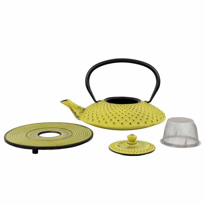 Teekanne aus Gusseisen 'Kambin' in Gelb, Set