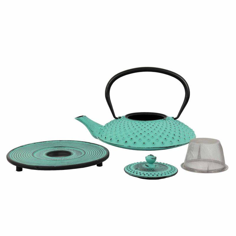 Teekanne aus Gusseisen 'Kambin' in Lucite Grün, Set