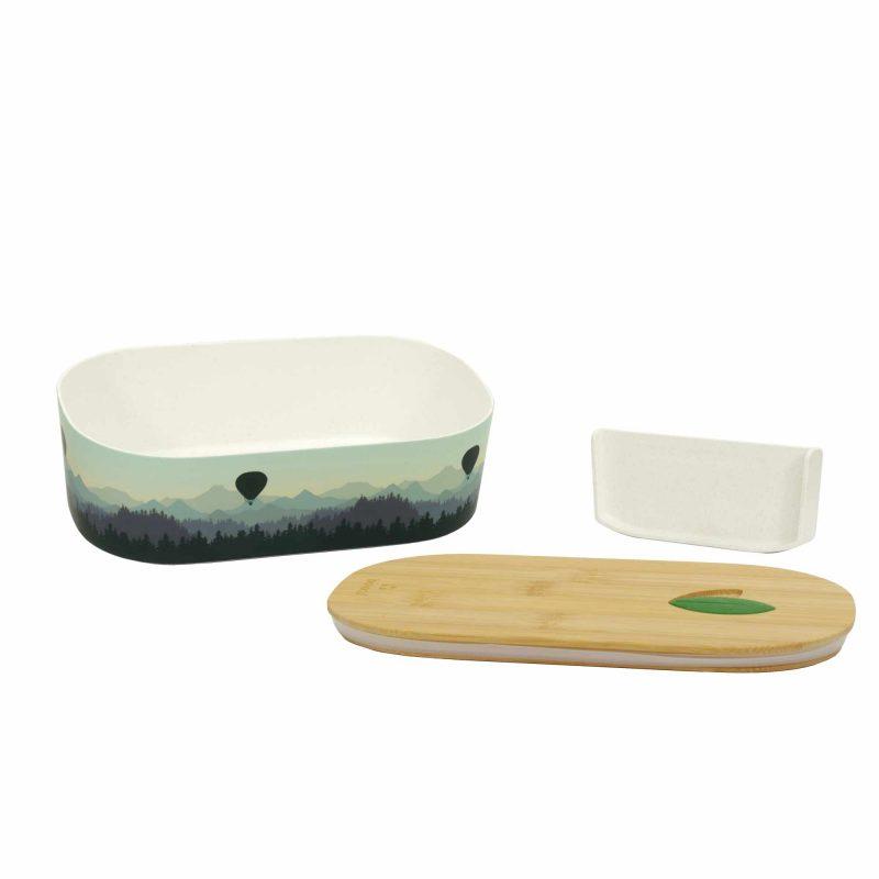 Lunchbox Bioloco Plant aus PLA mit Bambusdeckel 'Air Ballon Valley', Lieferumfang