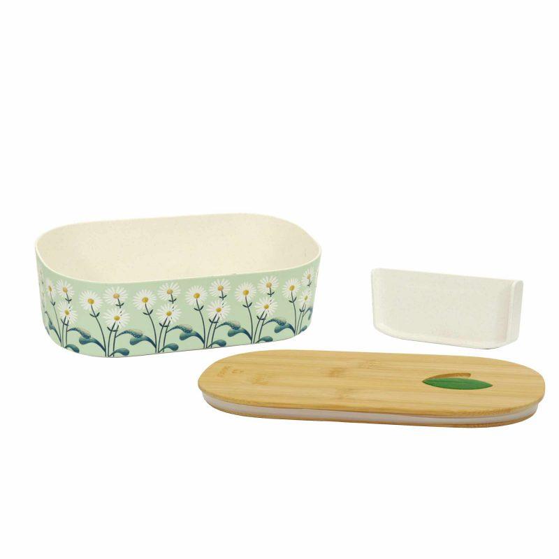 Lunchbox Bioloco Plant aus PLA mit Bambusdeckel 'Daisies', Lieferumfang
