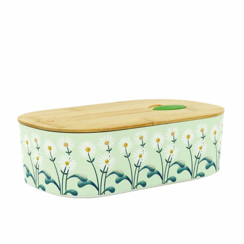 Lunchbox Bioloco Plant aus PLS mit Bambusdeckel 'Daisies'
