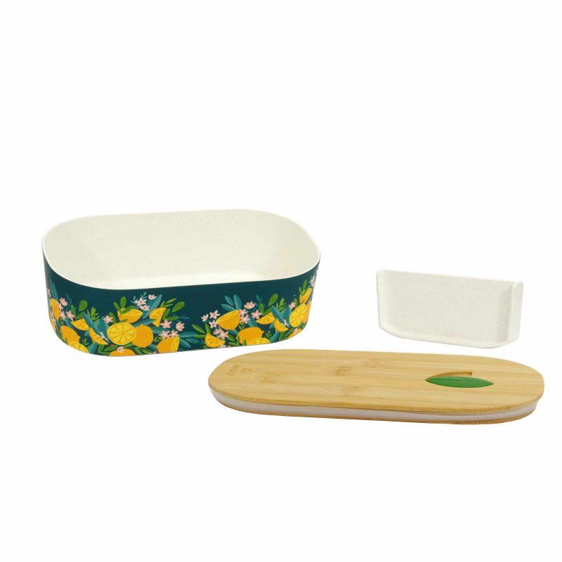 Lunchbox Bioloco Plant aus PLA mit Bambusdeckel 'Lemons', Lieferumfang