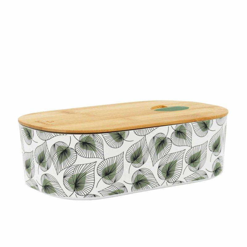 Lunchbox Bioloco Plant aus PLA mit Bambusdeckel 'Line Art Leaves'