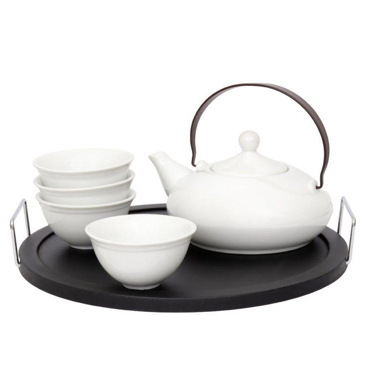 Teekanne aus Porzellan 'Elea', Set aus Teekanne und Teebechern