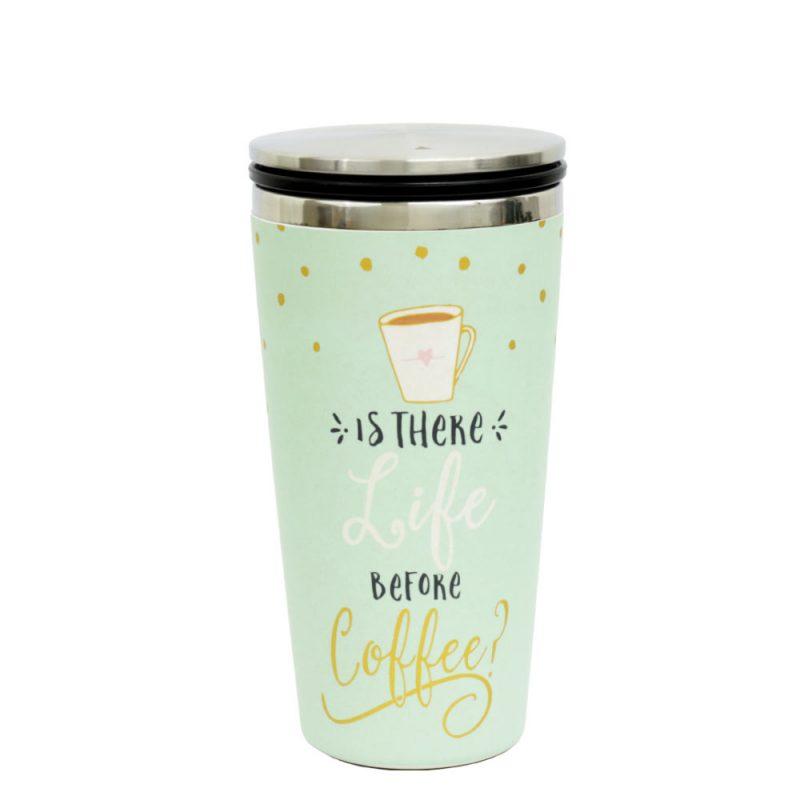 Kaffeebecher aus Edelstahl/Bambus mit Slidecup 'Life before Coffee' (420ml), Deckel geschlossen