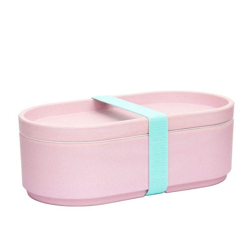 Lunchbox aus Bambus in Pink