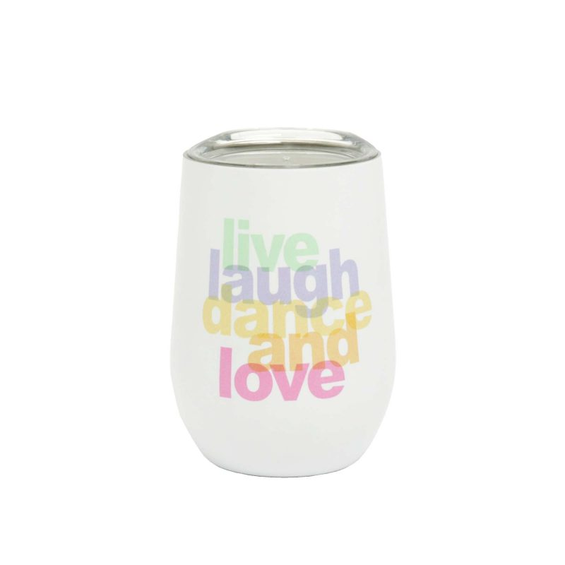 Kaffeebecher Edelstahl Bioloco office 'Live laugh dance and love', 420ml