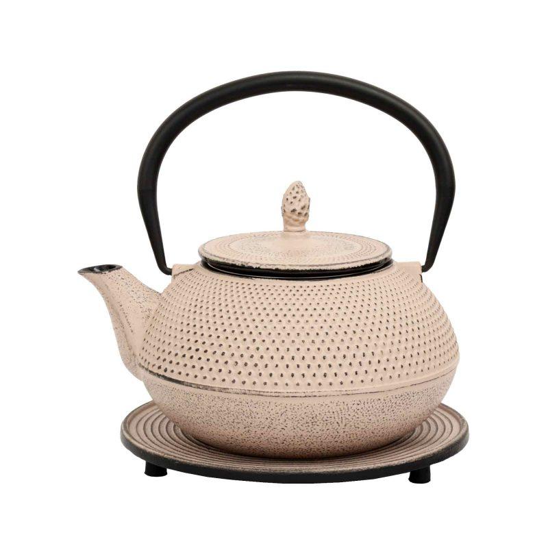 Teekanne aus Gusseisen 'Arare' in Beige