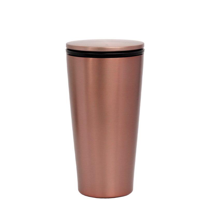 Thermo Kaffeebecher aus Edelstahl in RoseGold (SlideCup), 420ml