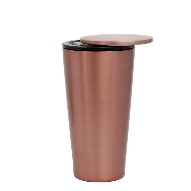 Thermo Kaffeebecher aus Edelstahl in RoseGold (SlideCup), 420ml - Deckl geöffnet