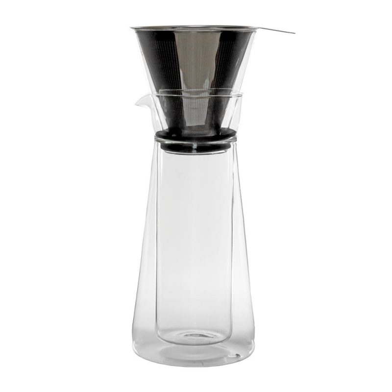 2-IN-1: Karaffe aus Glas Pour Over Kaffee AND French Press 'Piazza' 600ml