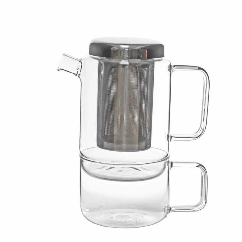 Tea-for-One 'SALERNO' aus Glas,750ml - Teekanne im Set