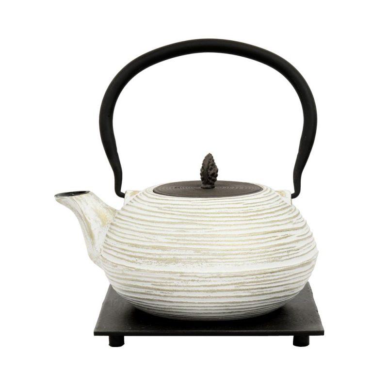 Teekanne aus Gusseisen 'Mo Yo' in Weiß-Grau, 1200ml