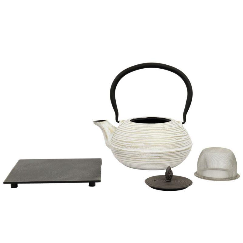 Teekanne aus Gusseisen 'Mo Yo' in Weiß-Grau, 1200ml - Lieferumfang
