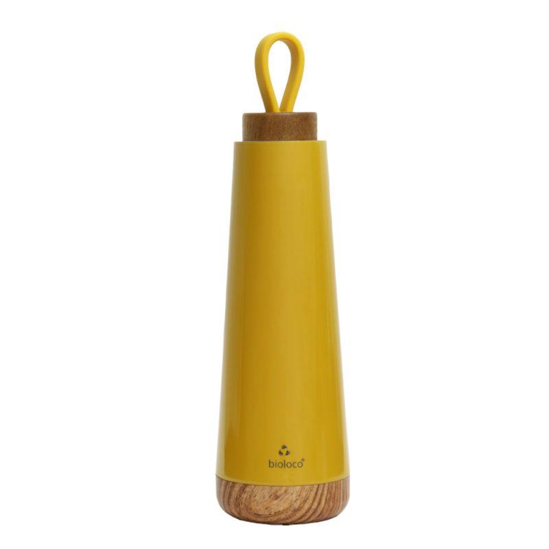 stylische Isolierflasche aus Edelstahl in 'mustard', 500ml