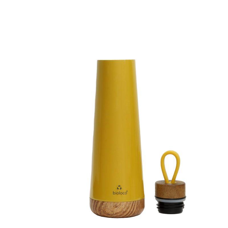 stylische Isolierflasche aus Edelstahl in 'mustard', 500ml - Lookbook01