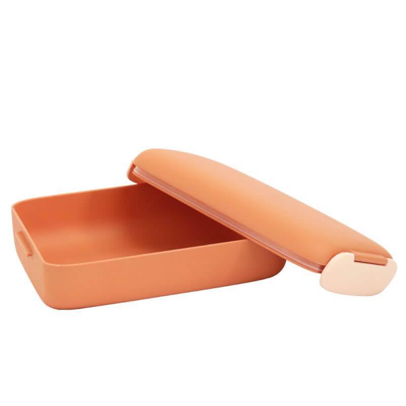 Brotdose und Lunchbox 'URBAN' in Terracotta - Deckel geöffnet